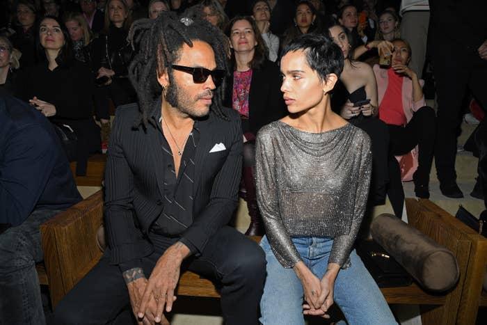 Lenny Kravitz and Zoë Kravitz attend a fashion show in 2020