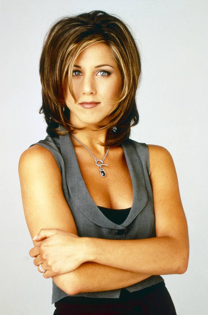 """Promotional shot for Friends with Rachel/Jennifer with """"the Rachel"""" hairstyle"""