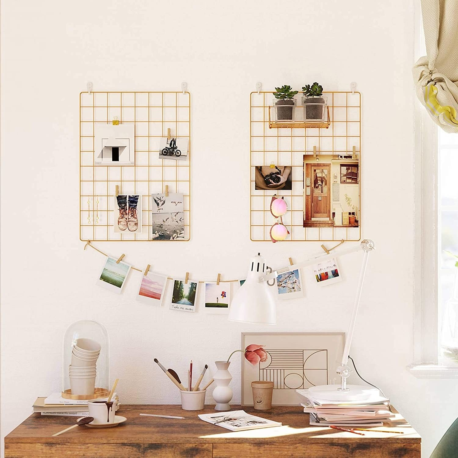 home office with metal notice board