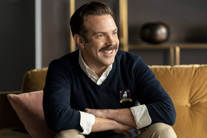 Still from Ted Lasso of Jason Sudeikis in character