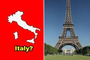 Side-by-side of a map of Italy and the Eiffel Tower