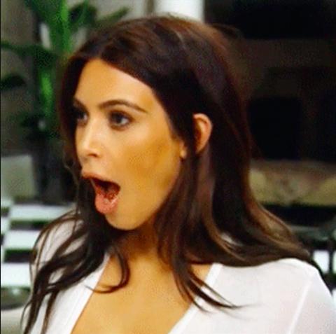 Kim Kardashian looking shocked