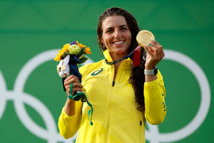 Gold medalist Jessica Fox of Team Australia celebrates during the medal ceremony following the Women's Canoe Slalom final