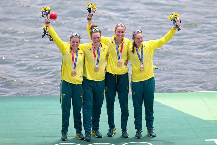 Bronze medalists Ria Thompson, Rowena Meredith, Harriet Hudson and Caitlin Cronin of Team Australia pose with their bronze medals during the medal ceremony for the Women's Quadruple Sculls Final
