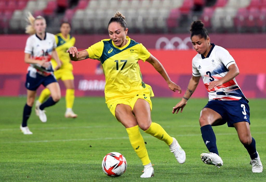 An Australian soccer player controls the ball during the Tokyo 2020 Olympic Games women's quarter-final football match between Britain and Australia