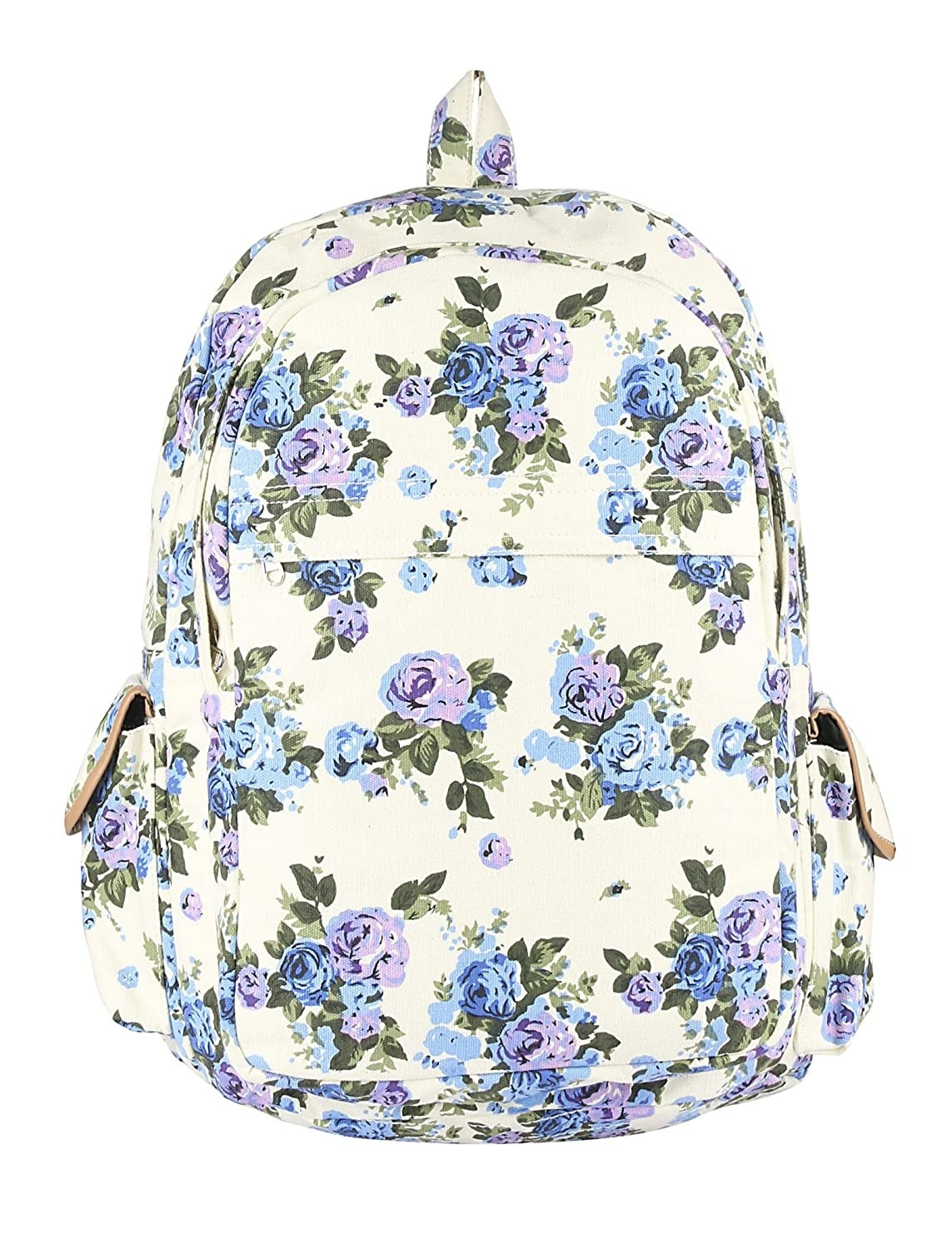 A white backpack with a blue and lavender floral print