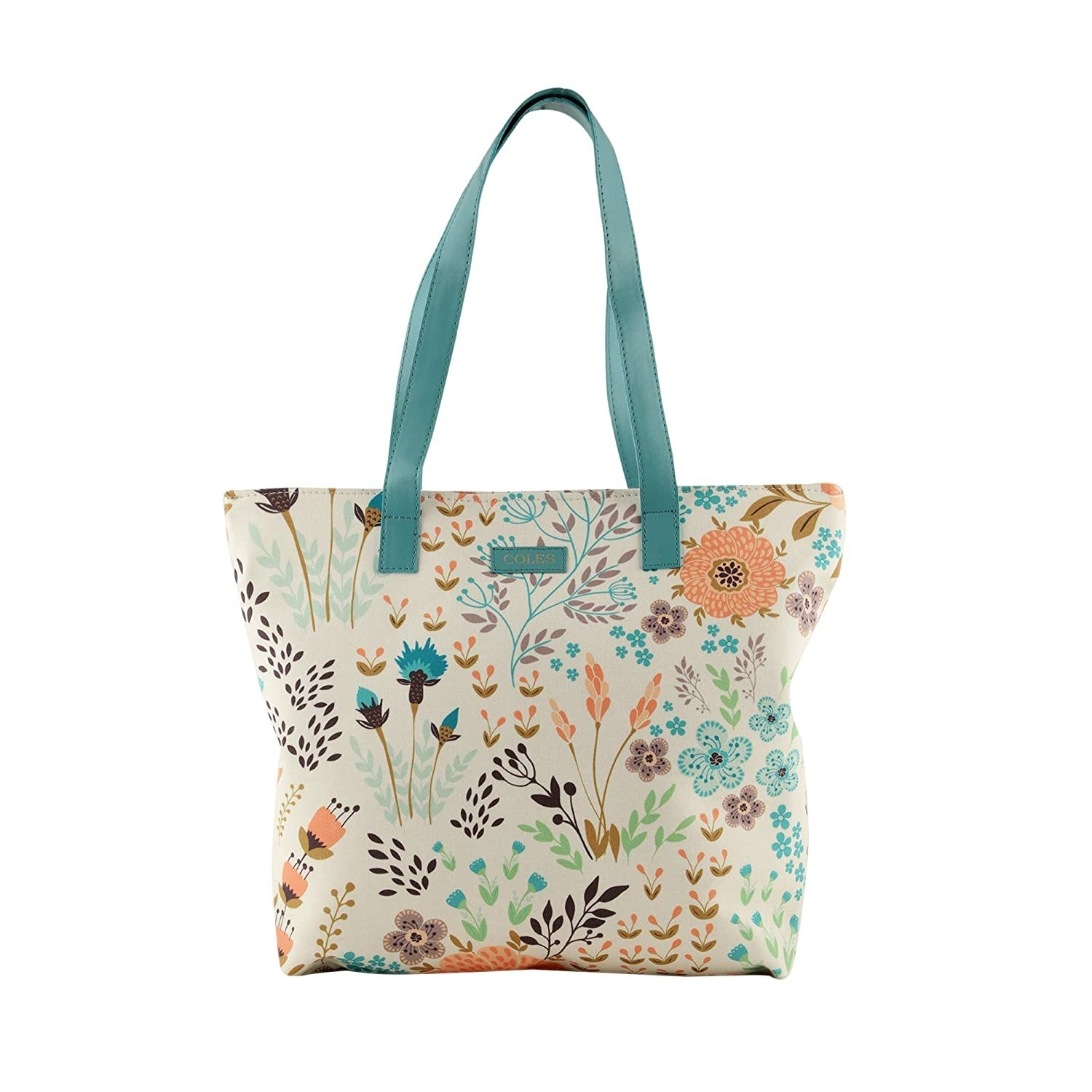 A white, teal, and orange tote bag with a floral print and teal handles
