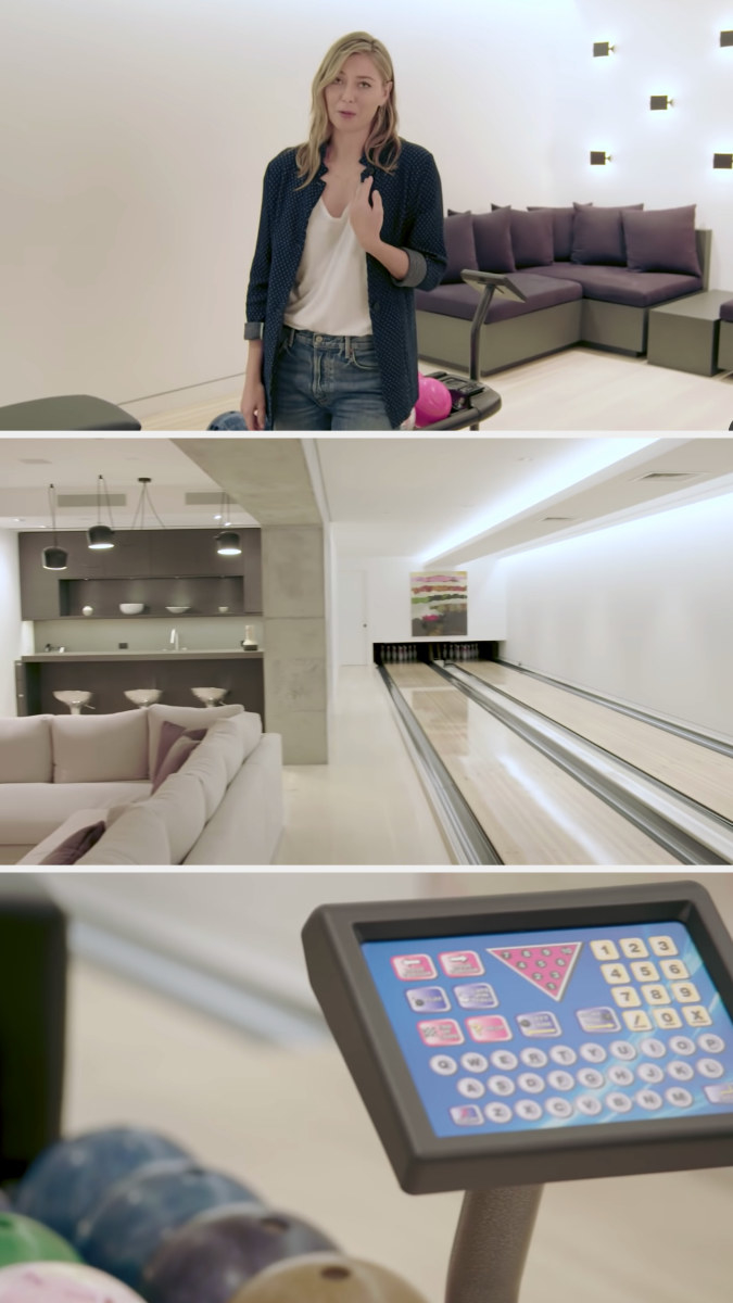 The bowling alley, complete with two functioning lanes, balls of different weights, and a computer system