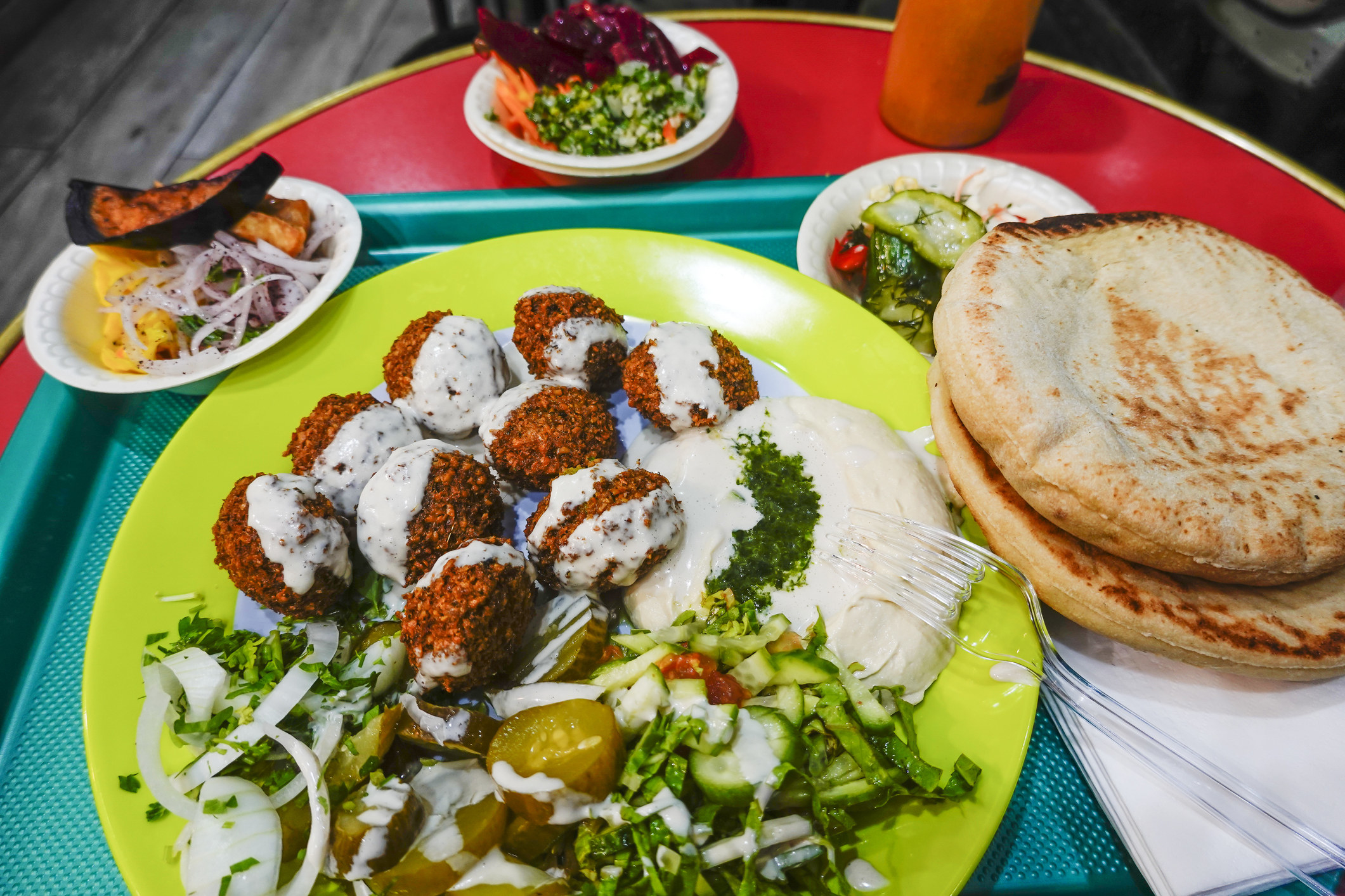 A big falafel platter in Tel Aviv.