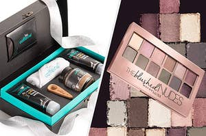 mCaffeine gift box with 3 products, maybelline blushed nudes eye shadow palette