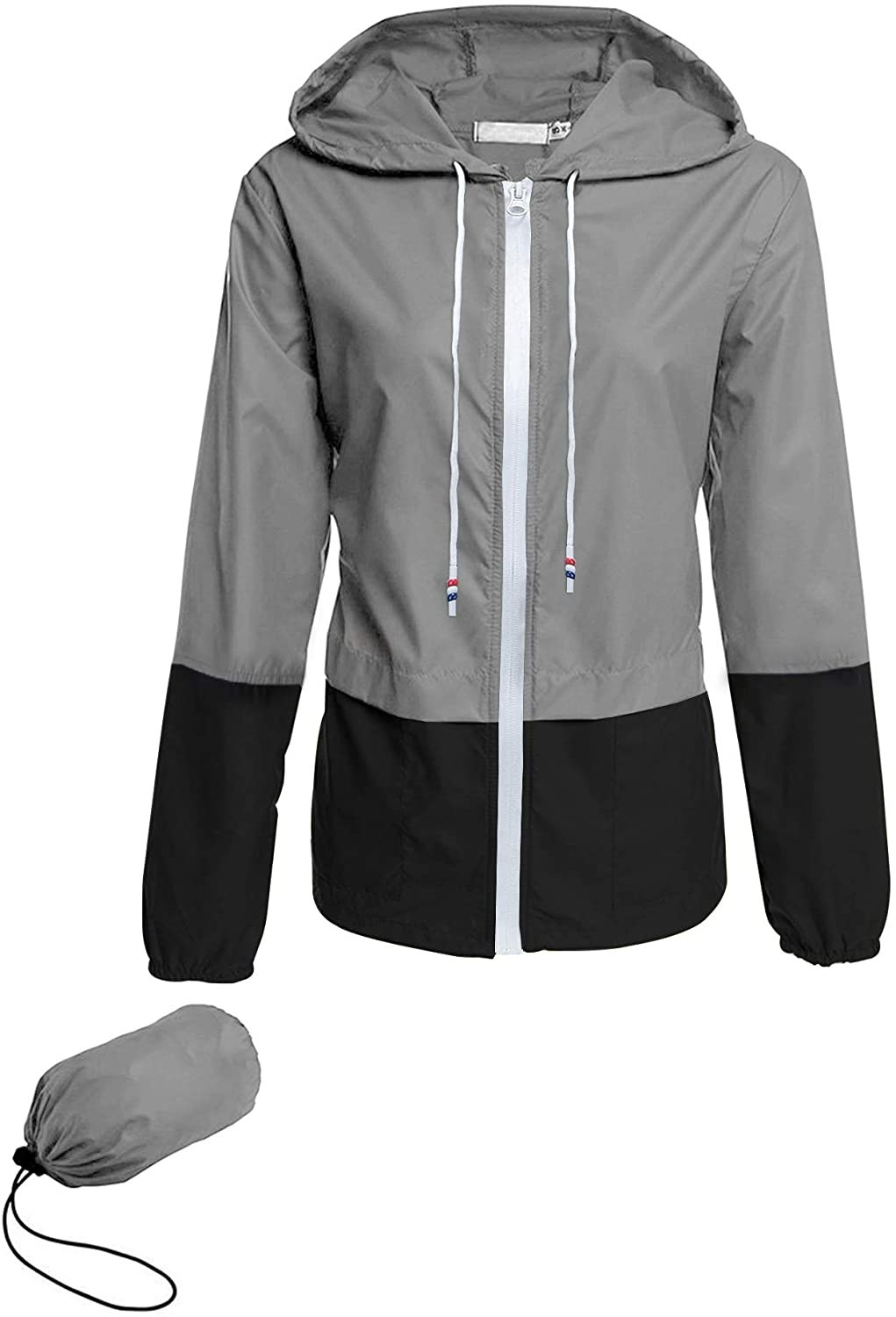 The two-tone grey jacket with the drawstring bag it packs into