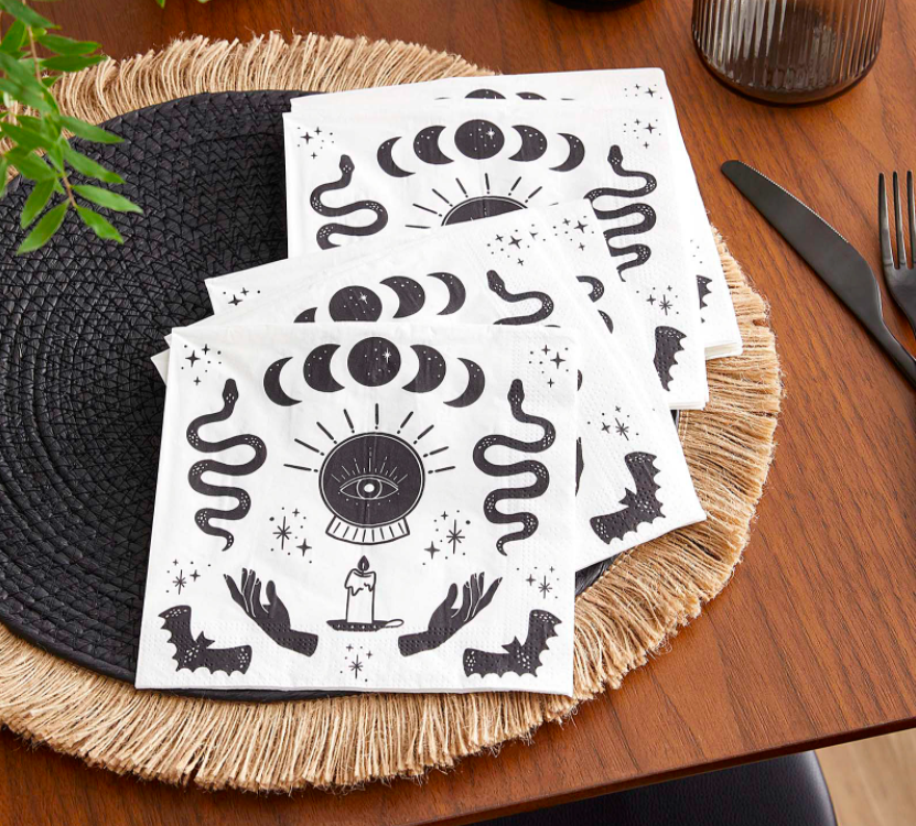 The napkins on a placemat