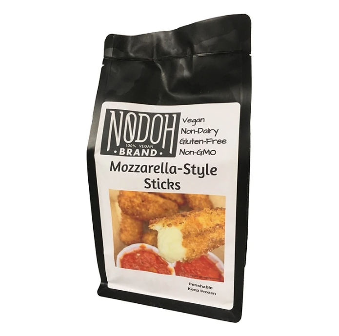 A bag showing a half-eaten mozzarella stick about to be dipped in tomato sauce