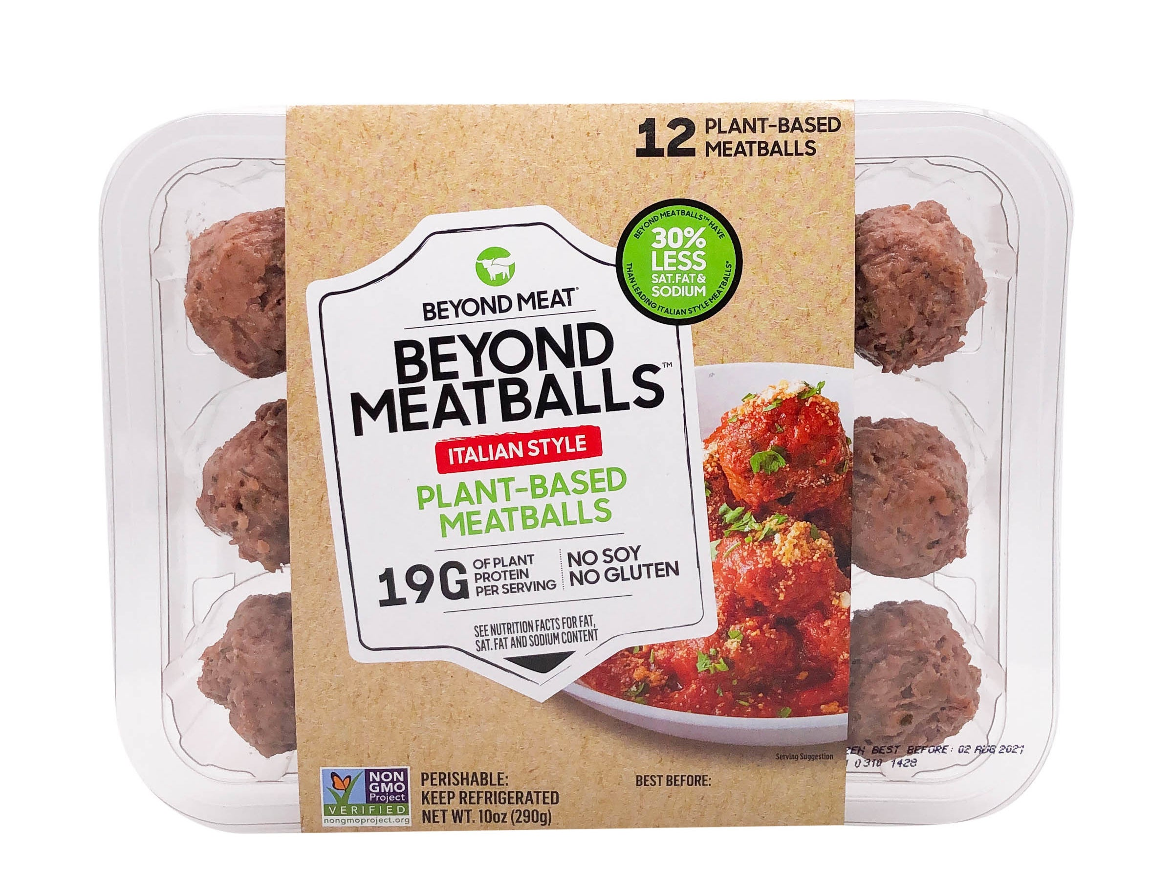 A package of 12 meatballs with a label in the middle