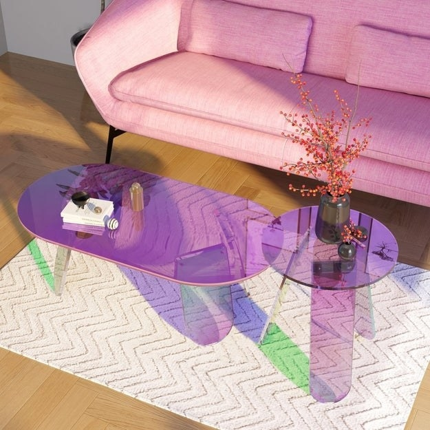 the iridescent acrylic coffee tables in small and large