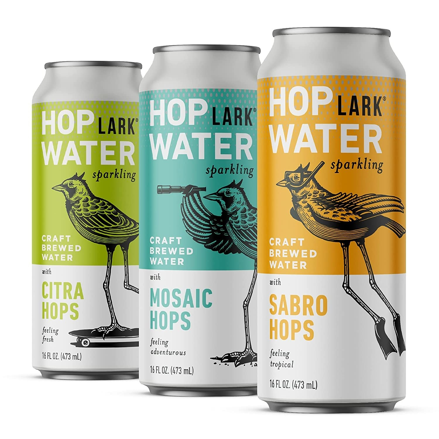 Three cans of hops water in green, turquoise, and yellow