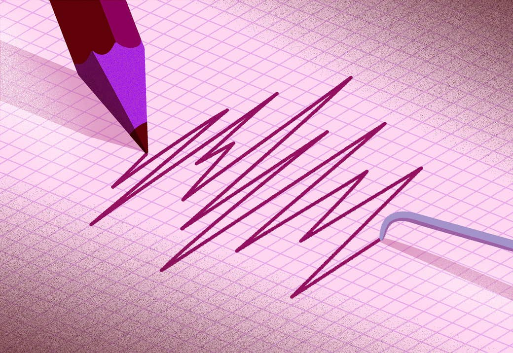 A needle from a polygraph test and a pencil draw out jagged lines on graph paper