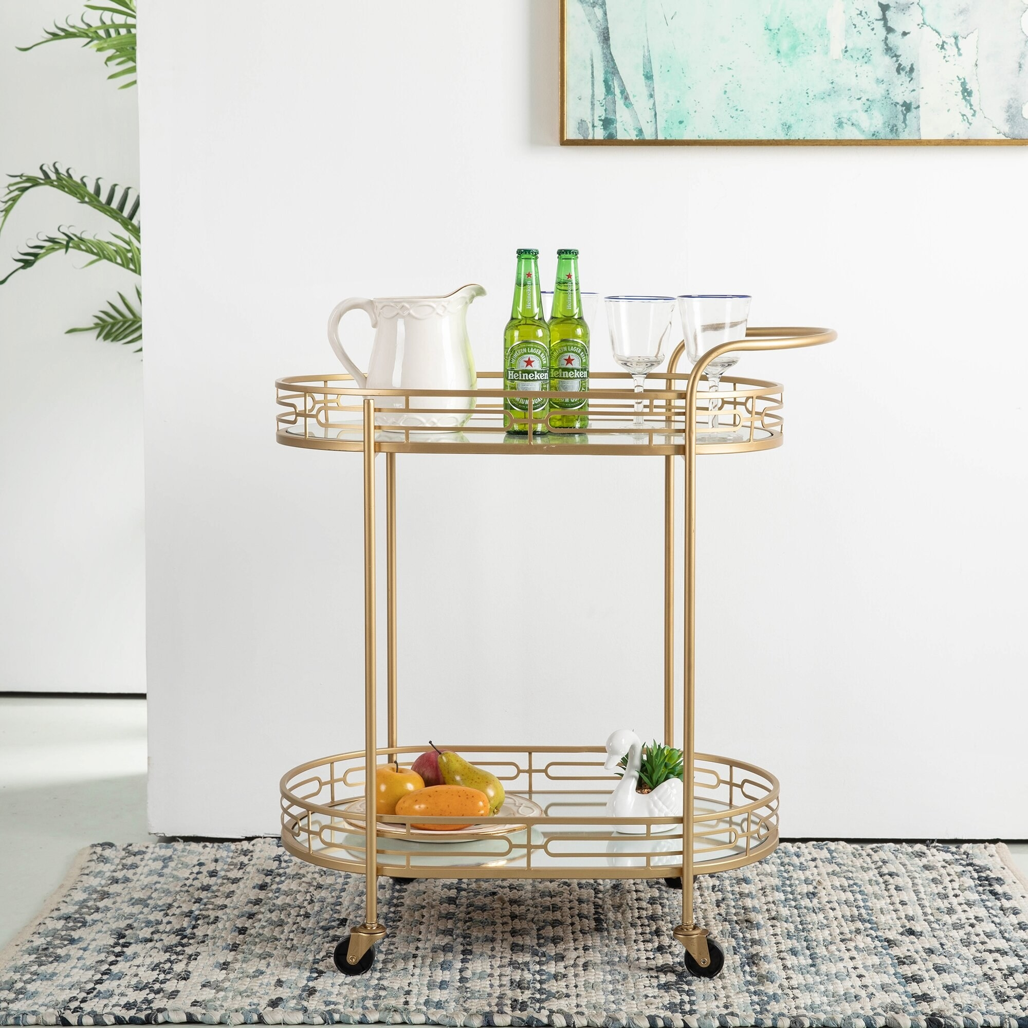 the two-tier gold bar cart