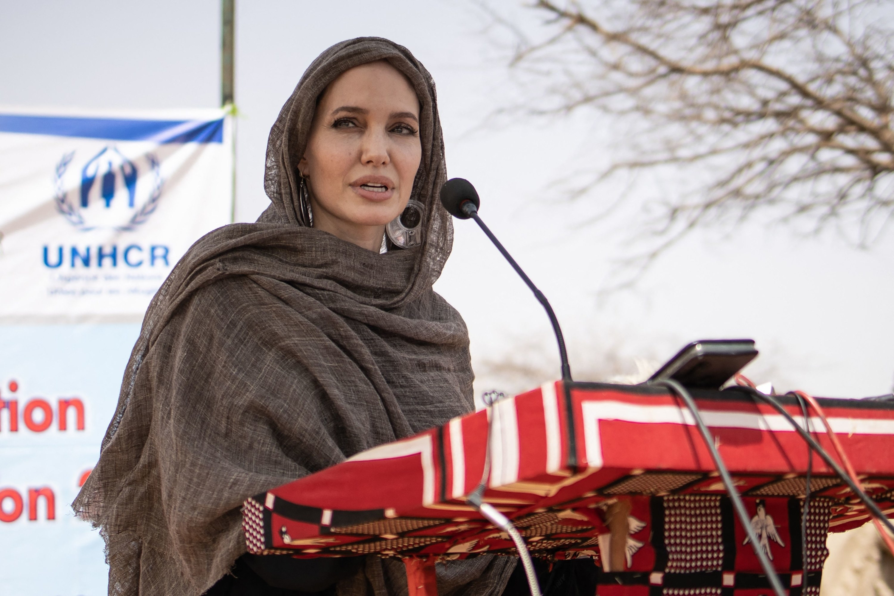 Angelina Jolie in a scarf and head covering speaking at a podium