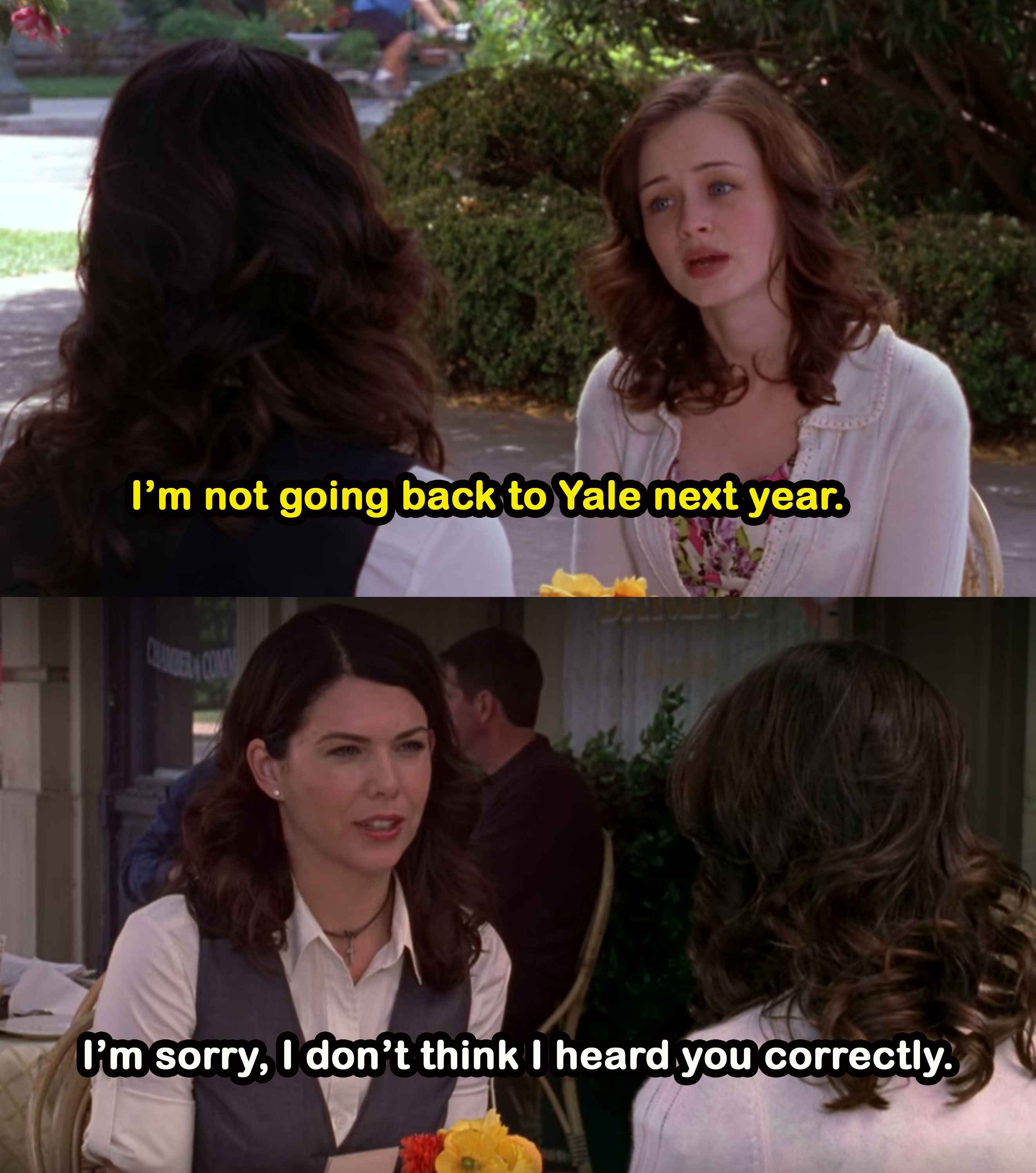 Rory tells her mom she's not going back to Yale