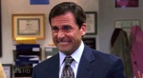 """Michael from """"The Office"""" grimacing"""