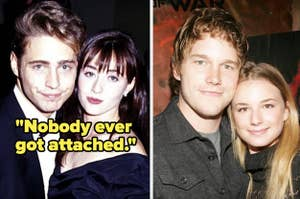 """Jason Priestley and Shannen Doherty with caption, """"Nobody ever got attached."""" And a photo of Chris Pratt hugging Emily VanCamp"""
