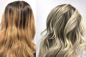 Reviewer before and after showing the shampoo took their hair from orange and brassy to cool and light blonde