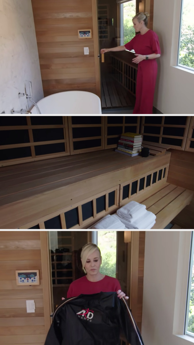 Chelsea opening the door to the sauna, the inside of the sauna complete with a nice bench and lots of shelving, and chelsea holding up the canvas sauna suit