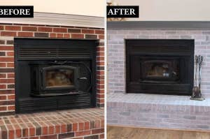brick fireplace surround, then the fireplace surround with a whitewash treatment