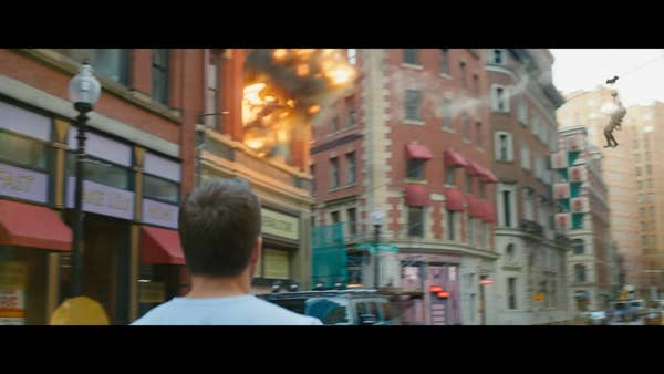 While Reynolds or Corner are walking, most of the actions taking place in the background are totally real and not CGI.