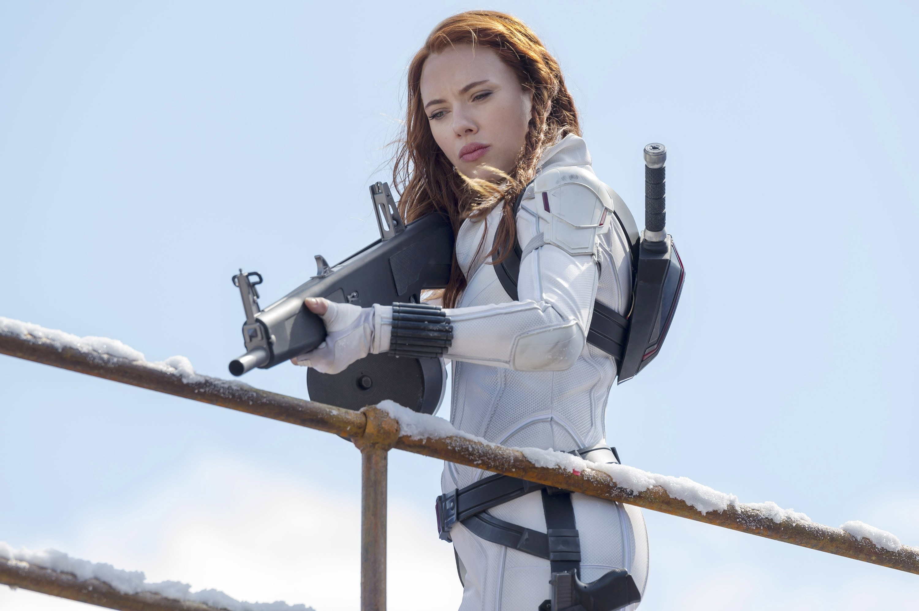 Black Widow pointing a weapon