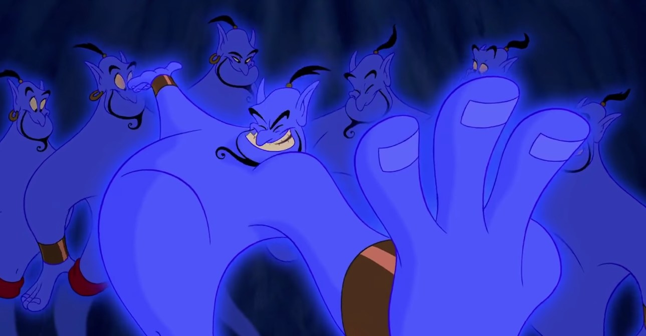 The Genie holds up three fingers while six paler versions of himself stand in the background, smiling