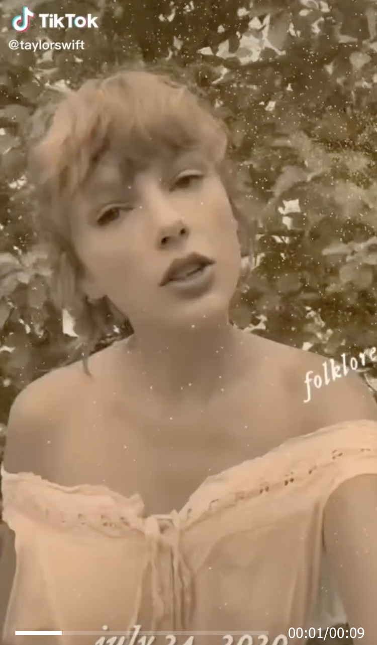 A gauzy image of Taylor on TikTok with an off-the-shoulder top