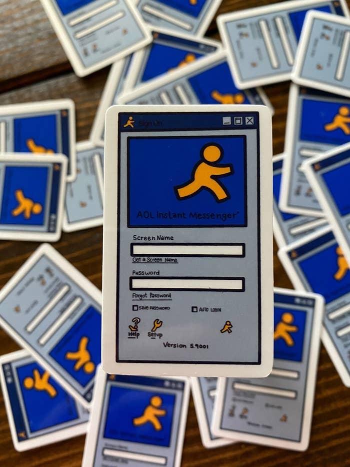 The AIM login screen sticker