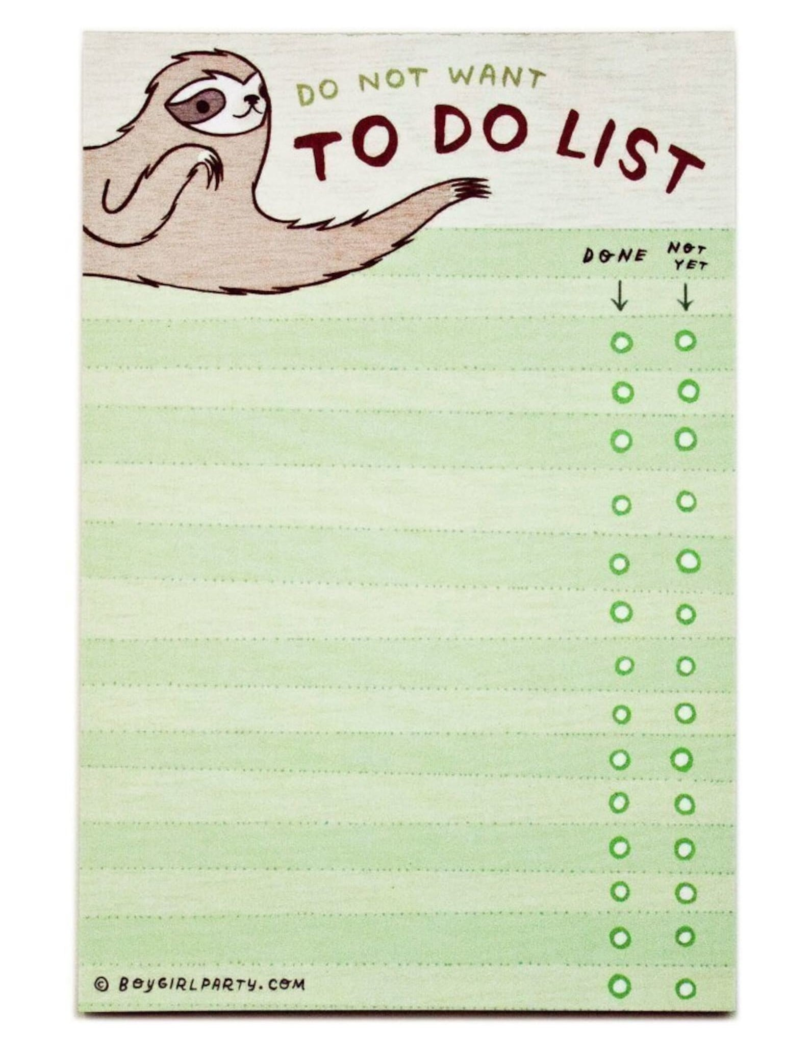 """the green notepad, which says """"do not want to do list"""" and has a sloth illustration in the top left corner"""