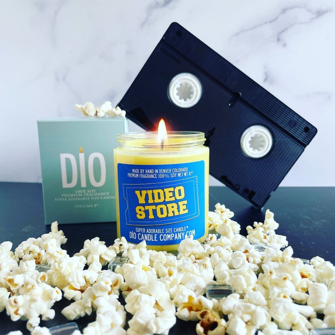 The candle that reads Video Store in the Blockbuster font and logo