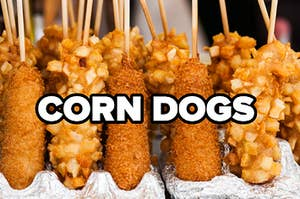 """Several corn dogs are lined up and labeled, """"CORN DOGS"""""""
