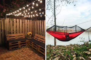 string lights over patio, hammock with mosquito net on top