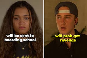 """Kiara is on the left labeled, """"will be sent to boarding school"""" with Rafe on the right labeled, """"will prob get  revenge"""""""