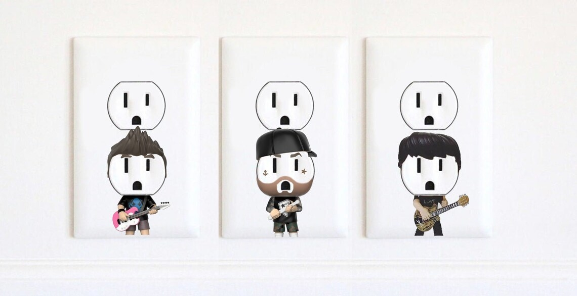The set ofBlink 182 outlet stickers designed to look like each one of the members of the band