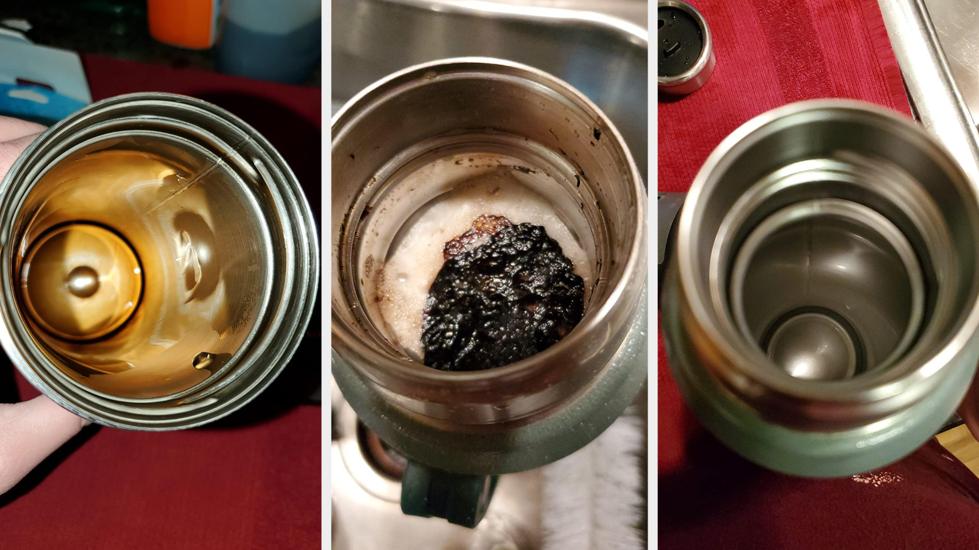 A before, during, and after photo of a metal water canister rusted, bubbly, and then clean after using the tablet