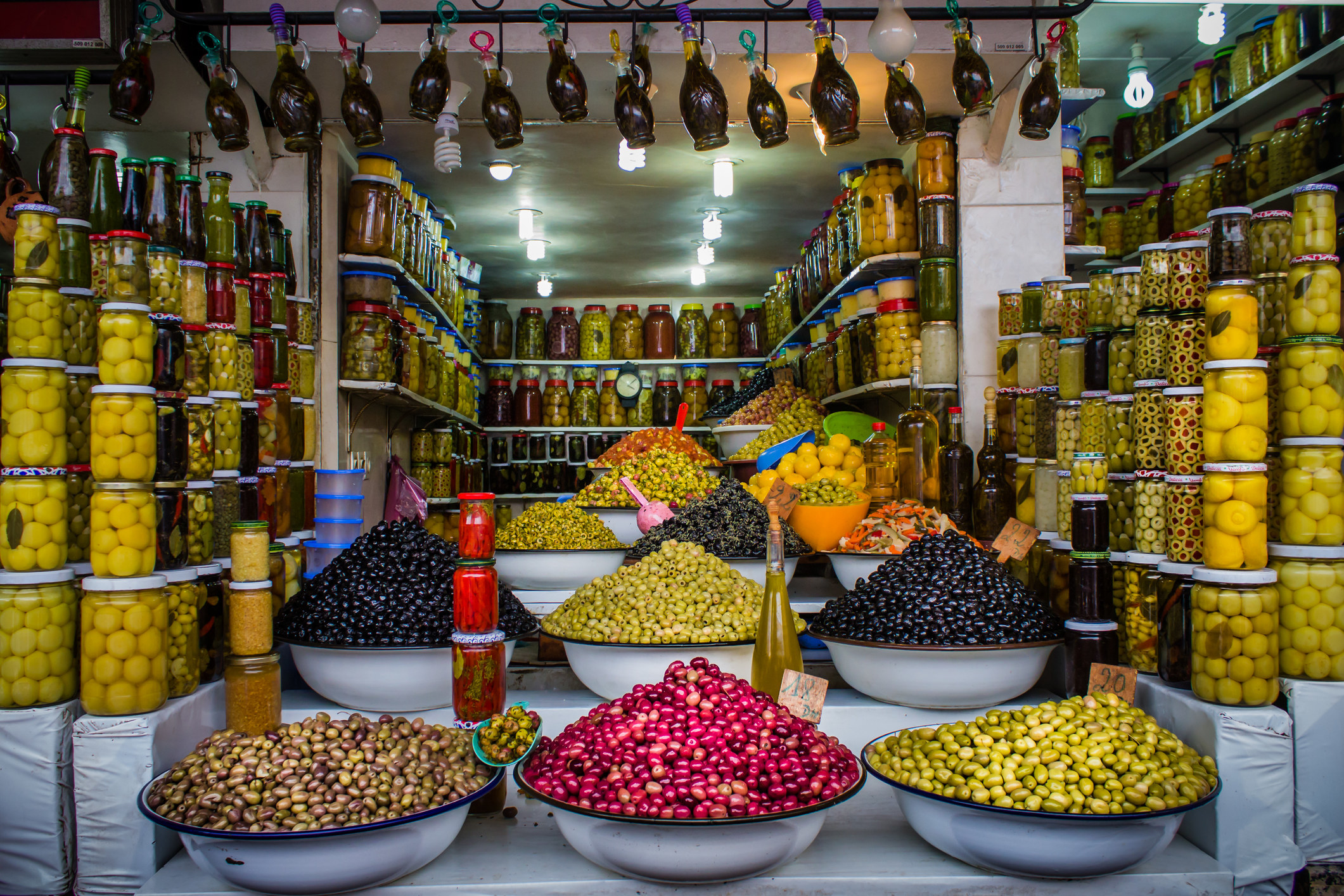 A souk selling olives in Marrakesh.