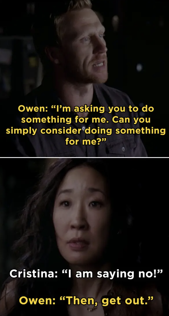 Owen telling Christina to get out after she said she doesn't want kids