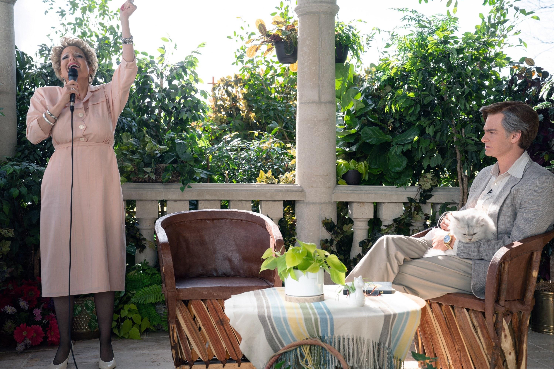 From left: Jessica Chastain, as Tammy Faye Bakker, Andrew Garfield, as Jim Bakker.