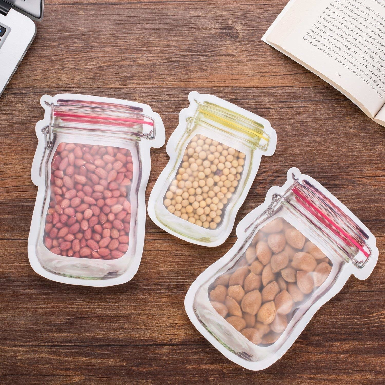 Three ziplock bags, designed like mason jars, storing peanuts and other dry foods