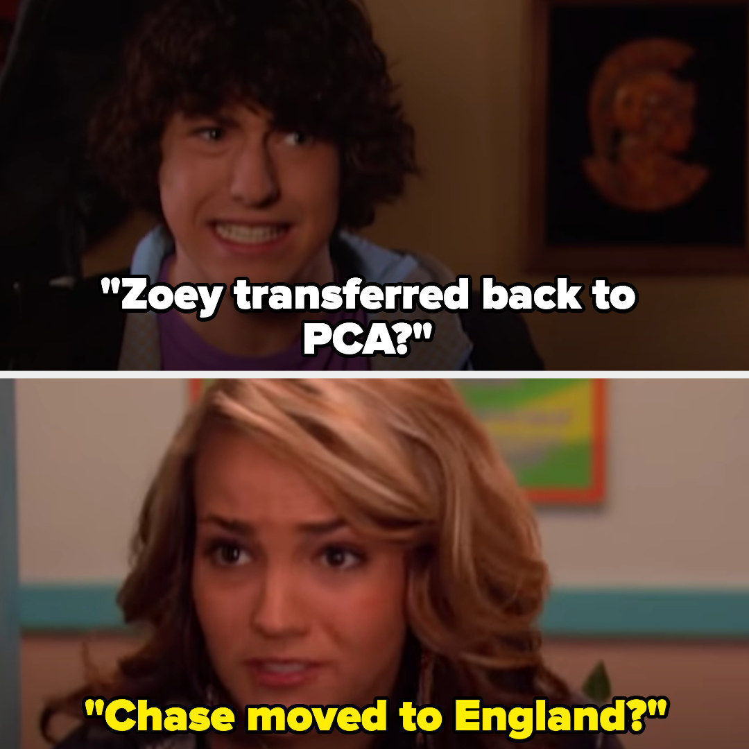 """Chase saying """"Zoey transferred back to PCA?"""" and Zoey saying """"Chase moved to England?"""""""