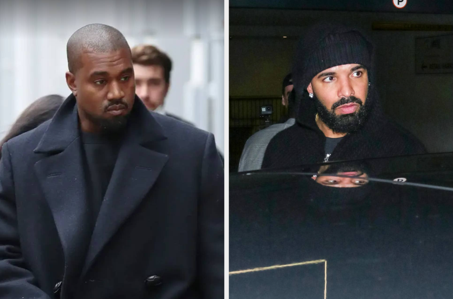 Photo of Kanye West walking outside in a black peacoat next to a photo ofDrake looking over the top of a car wearing a black coat and beanie