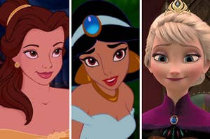 A close up of Belle as she smiles up at someone, a close up of Jasmine as she's mid sentence, and a close up of Elsa as she smiles softly at someone off screen