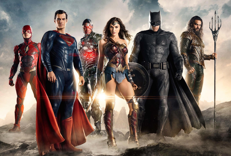 Superheroes standing together