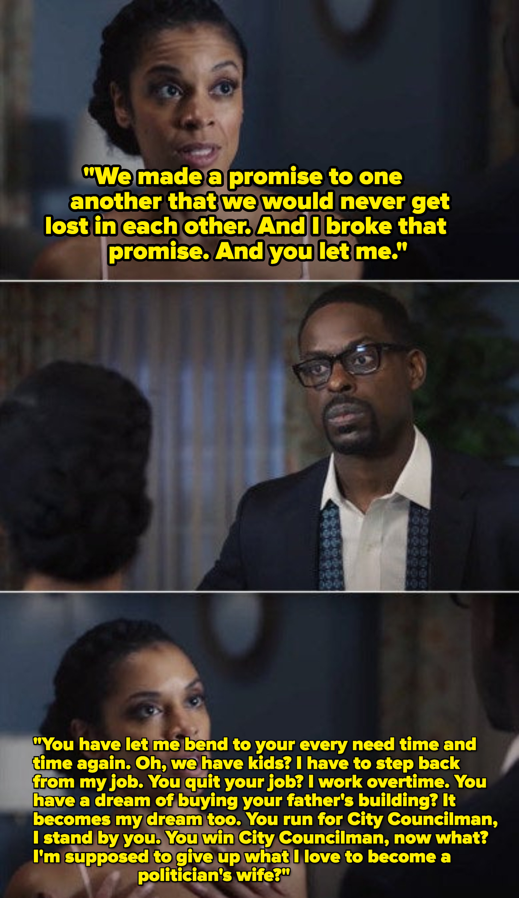 Beth telling Randall that he let her get lost in him